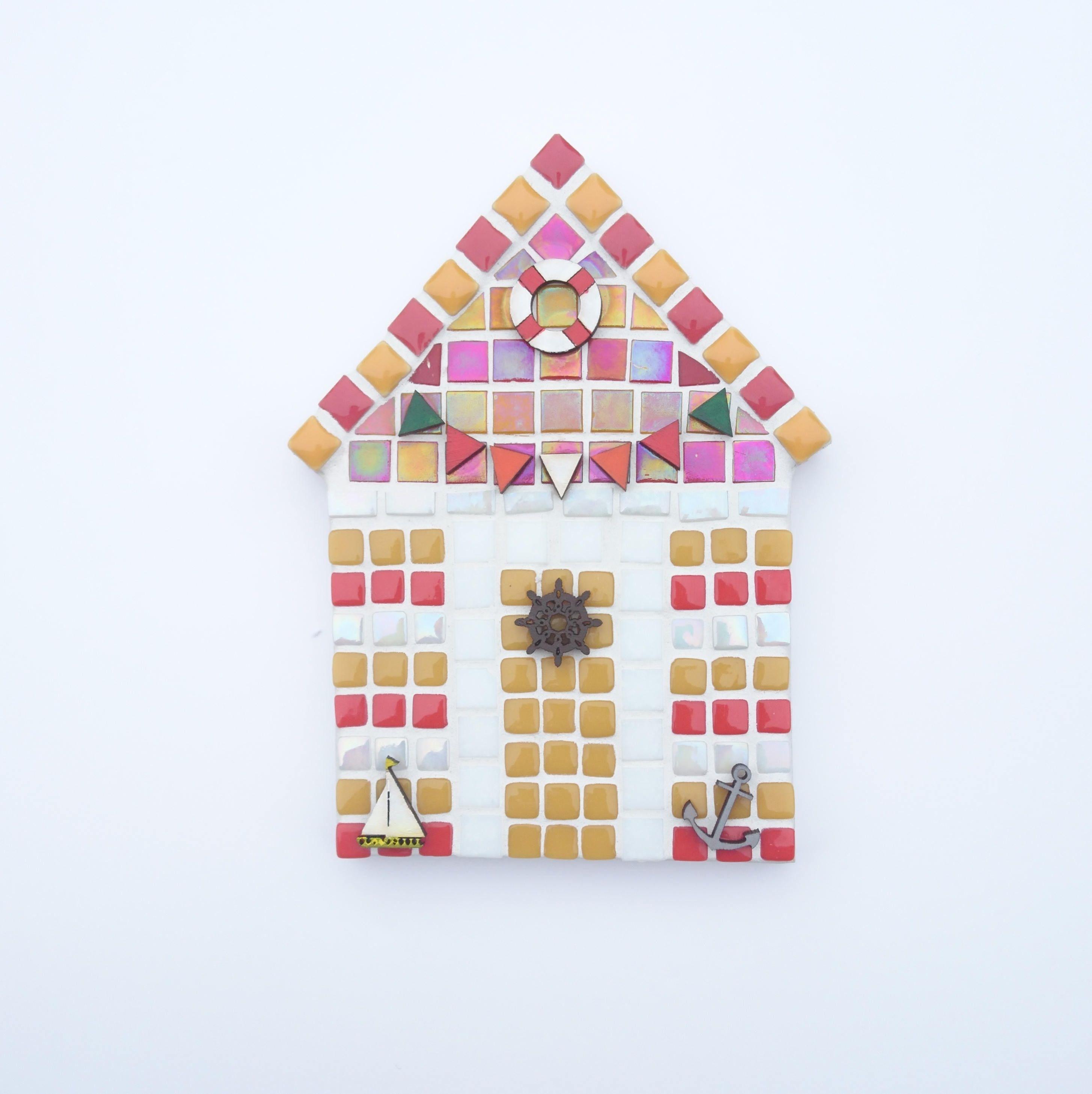 Beach Hut Mosaic Yellow And Red Mosaic Beach Hut Mosaic Wall