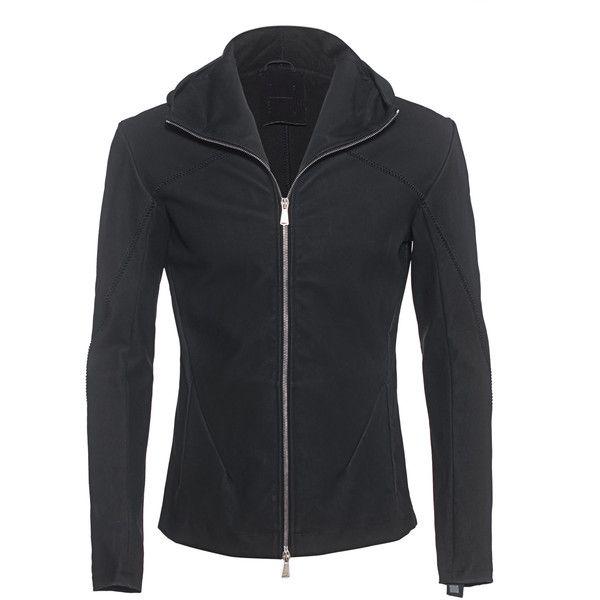 10SEI0OTTO Hood Black // Hooded jacket of nubuk leather ($1,715) ❤ liked on Polyvore featuring men's fashion, men's clothing, men's outerwear, men's jackets, mens slim jacket, mens slim fit jacket, mens zip jacket, mens leather jackets and mens slim fit leather jacket