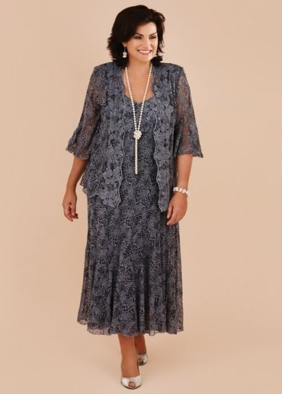 Plus Size Gray Lace Tea Length Mother of the Bride Dresses With Jacket . a5bcd1635822