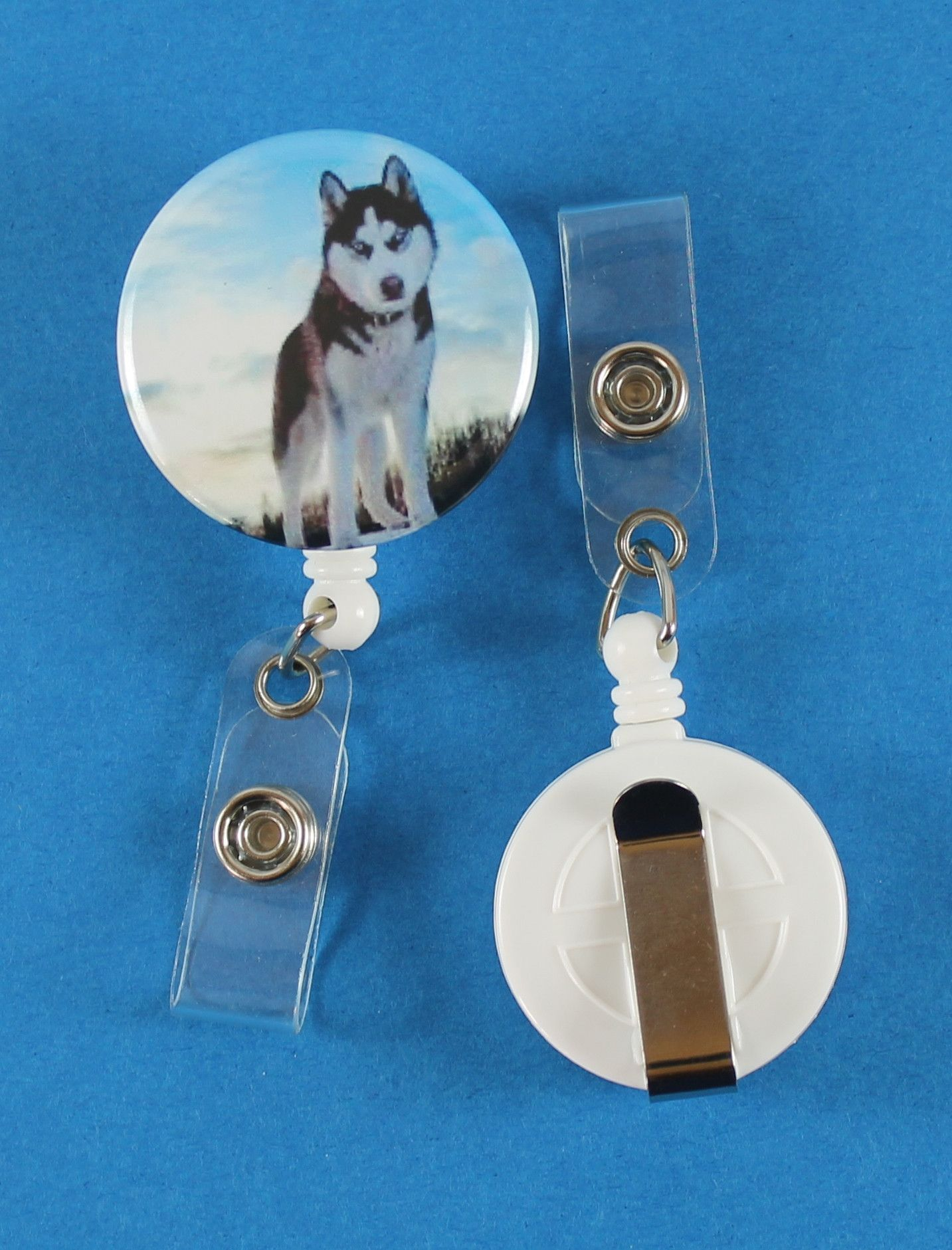 Siberian Husky AKC Button Retractable Badge Reel, ID Badge Holder
