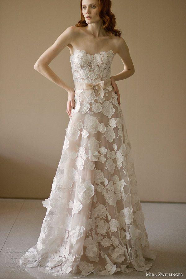 mira zwillinger 2014 bridal beatrice strapless #wedding #dress