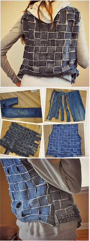 Vest from Old Jeans Strips? What about a Handbag? See Tutorial