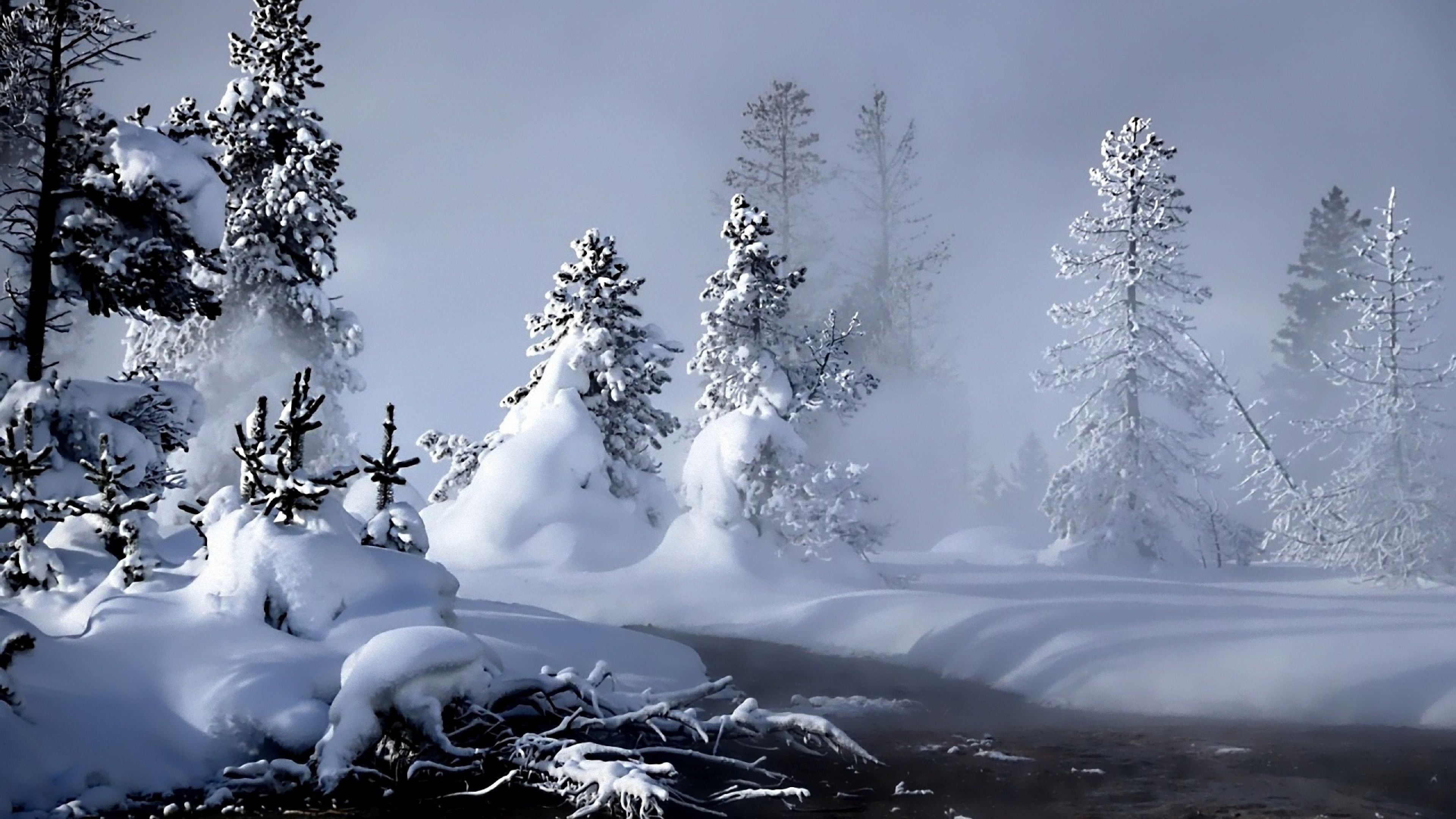 Download Wallpaper 3840x2160 Winter, River, Evaporation