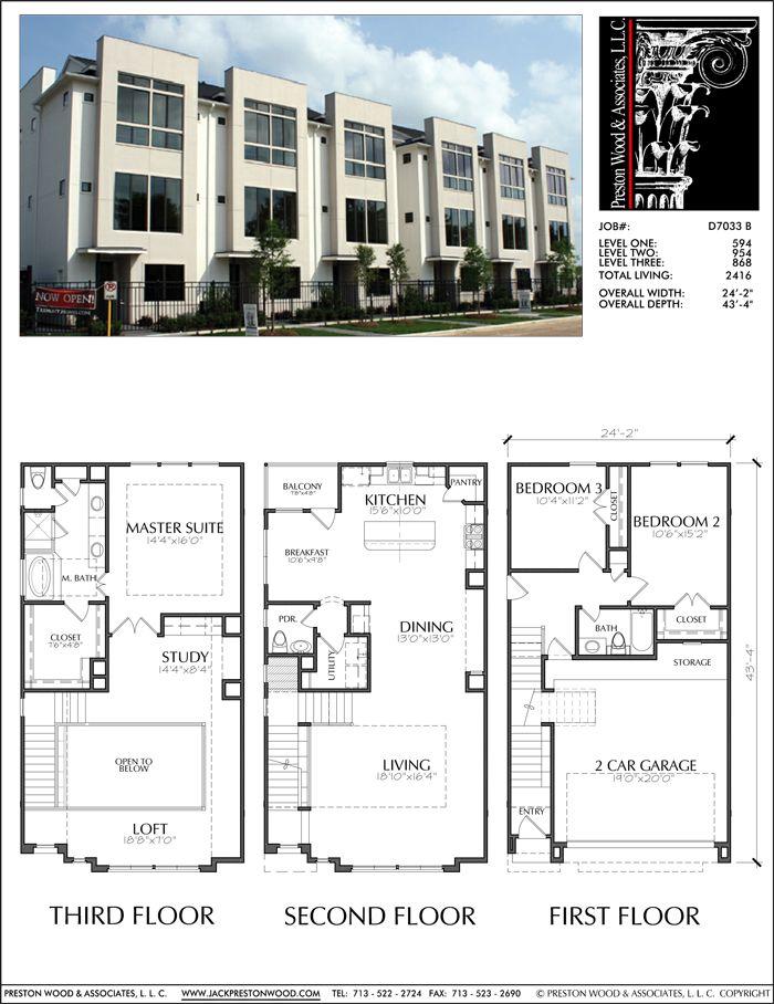 Townhouse Plan D7033 B Town House Floor Plan Condo Floor Plans Townhouse Designs