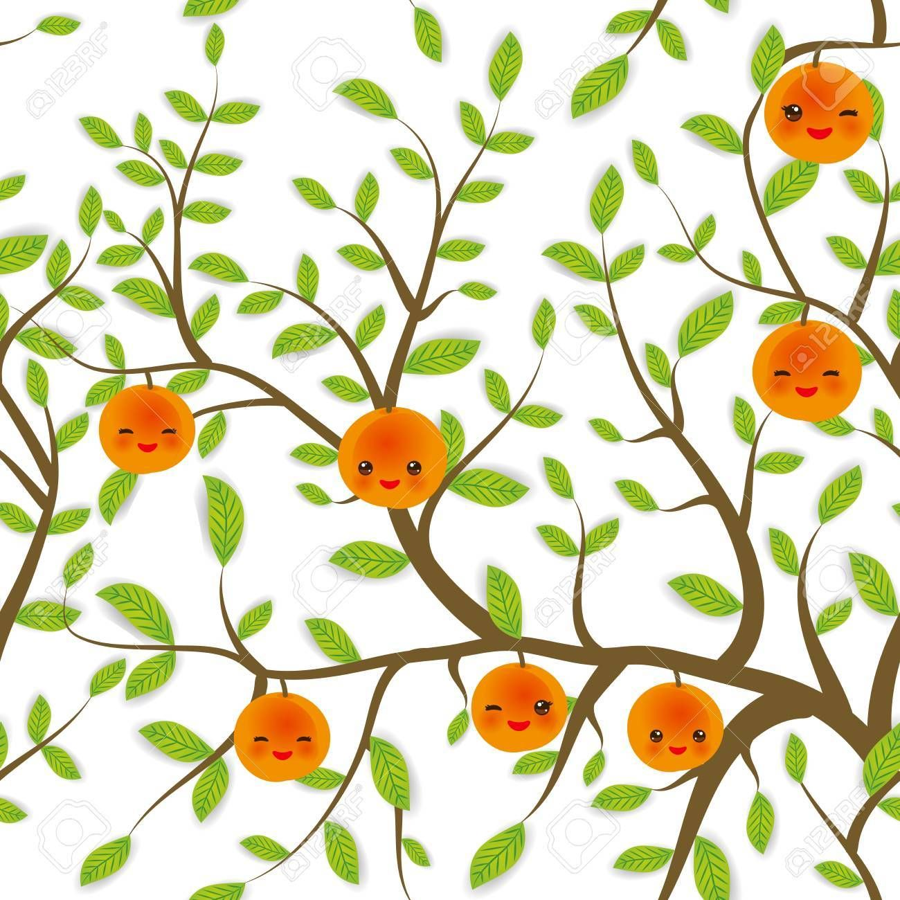 seamless pattern Brown branches with green leaves, peach apricot fruits Kawaii funny muzzle with pi