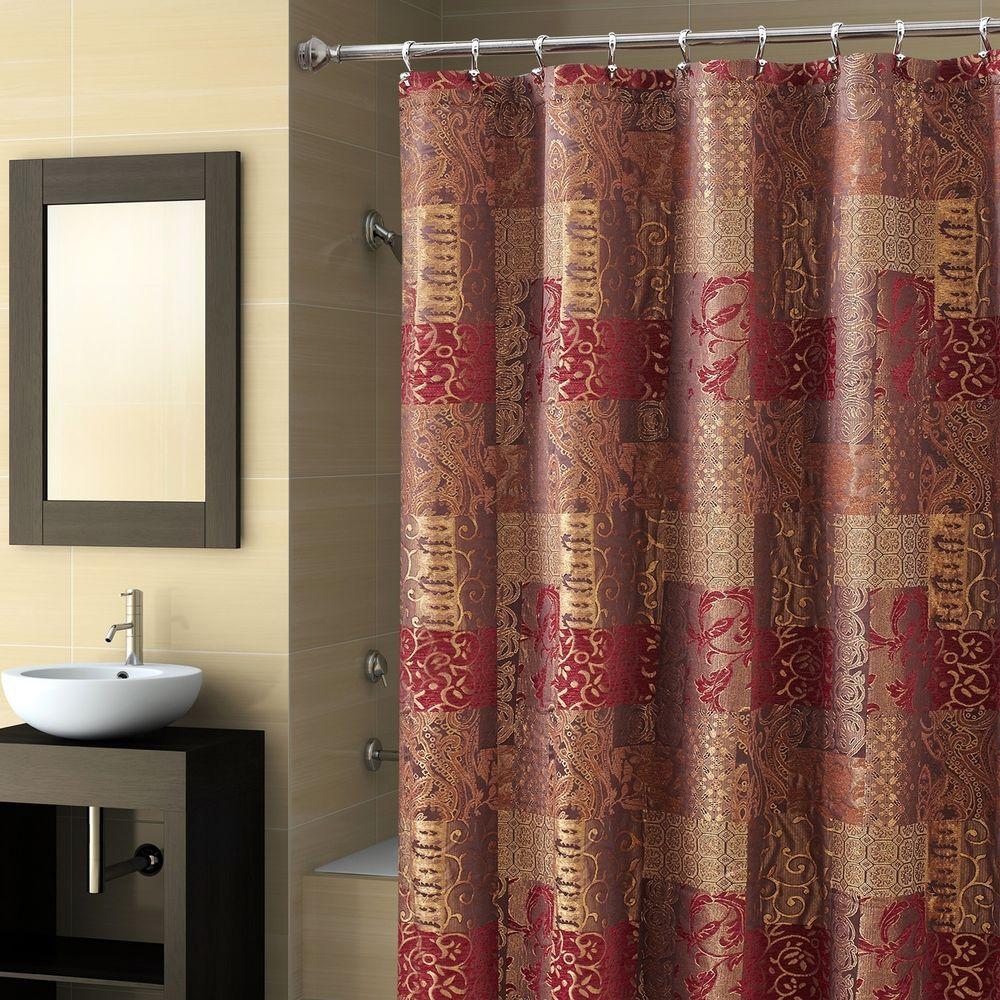 Shower Curtain Croscill Opulence Brown Burgundy Gold Heavyweight