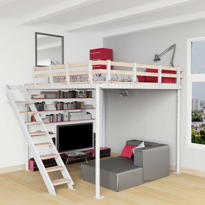 cama alta t8 con escalera lateral cama