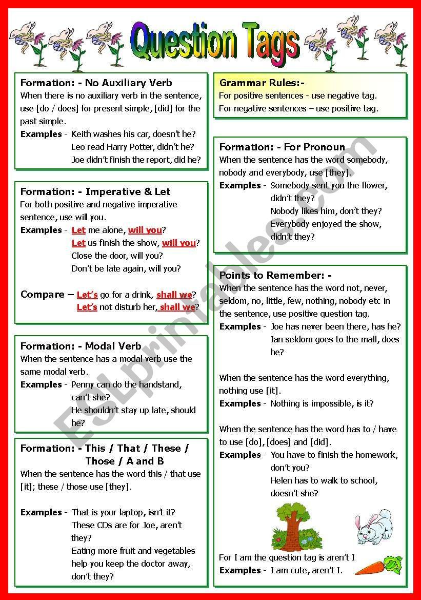 This worksheet consists of 5 pages. Pg 1 basic grammar