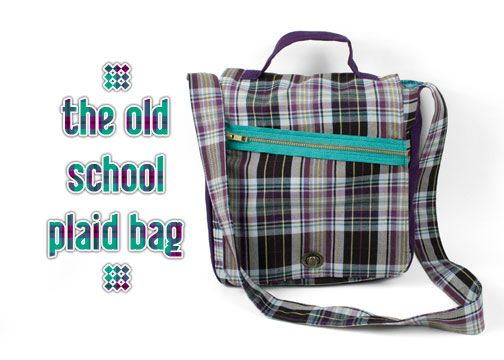 Free Tutorial: A zippered plaid messenger-style bag sewing pattern #diy