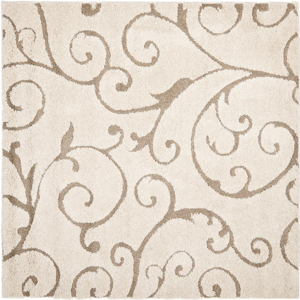 Safavieh Florida Shag Cream Beige 7 Ft X 7 Ft Square Area Rug