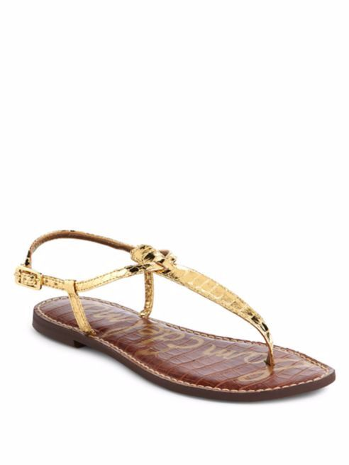 e494dfd571fa4 Sam Edelman Gigi Gold Boa Embossed T-Strap Flat Sandals Thong 8.5 Buckle  Slide