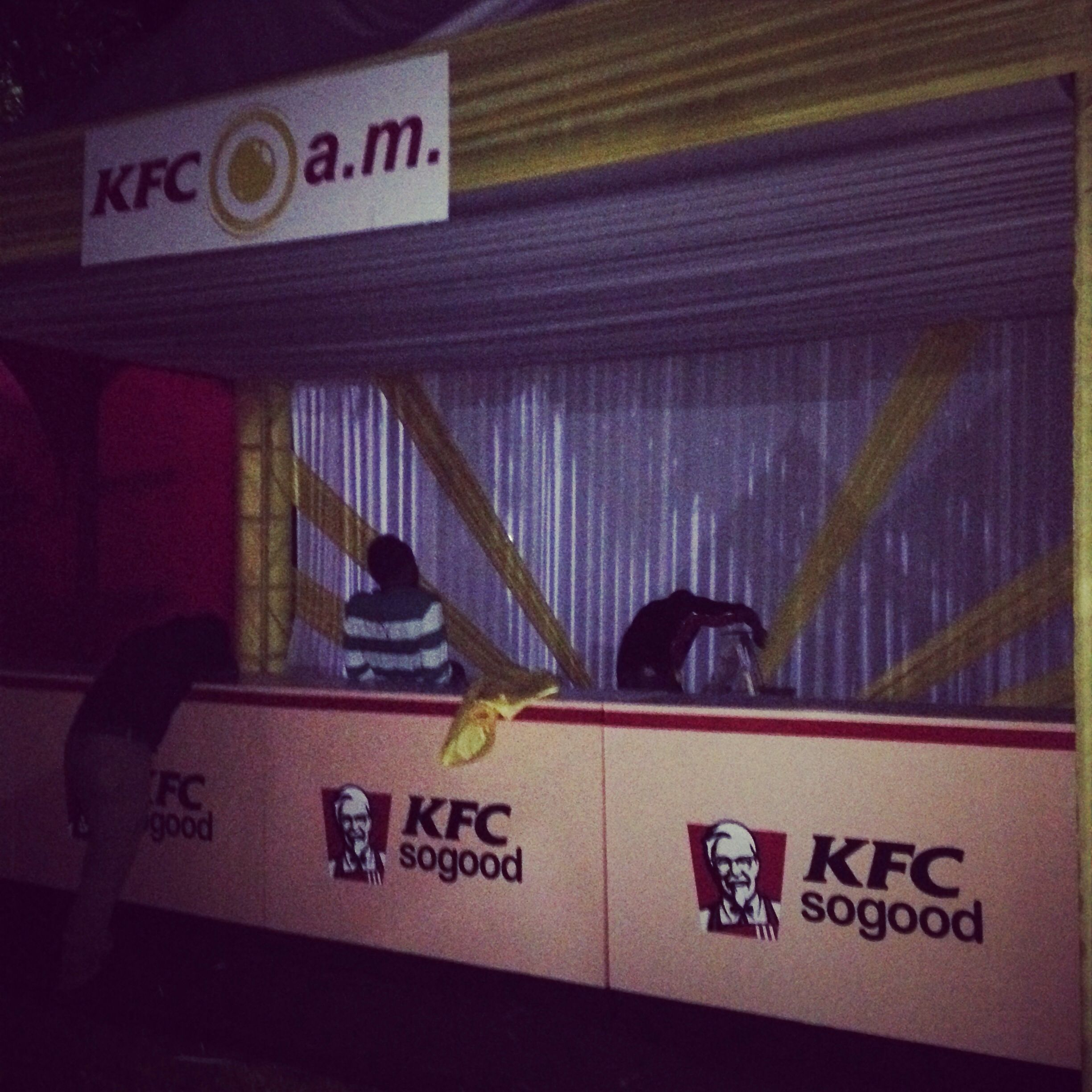 Built the KFC booth at sunrise party
