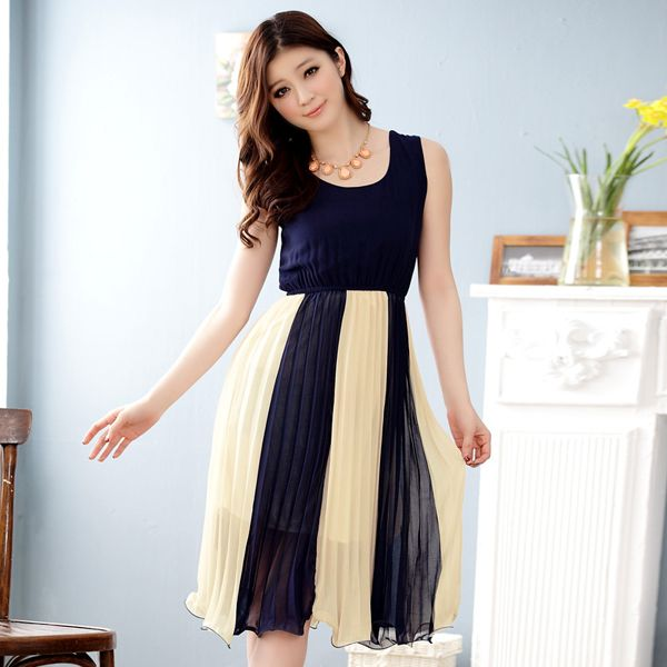 wholesale women summer dress korean fashion k3320 DarkBlue ...