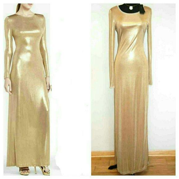 Bcbg Long Gold Metallic Dress Brand New Sleeve Shimmer In