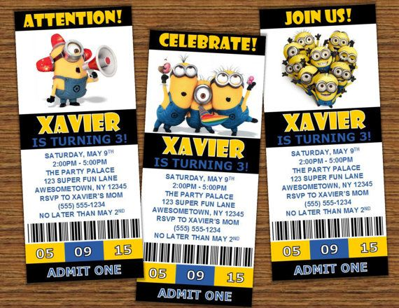 Personalized Printable Despicable Me Minion Movie Ticket - party ticket invitations