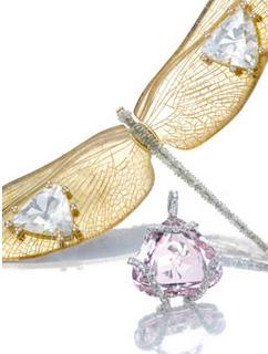 JAR dragonfly brooch set in gold with Rock Crystal - 1987  JAR Morganite and portrait cut diamond pendant - 1984