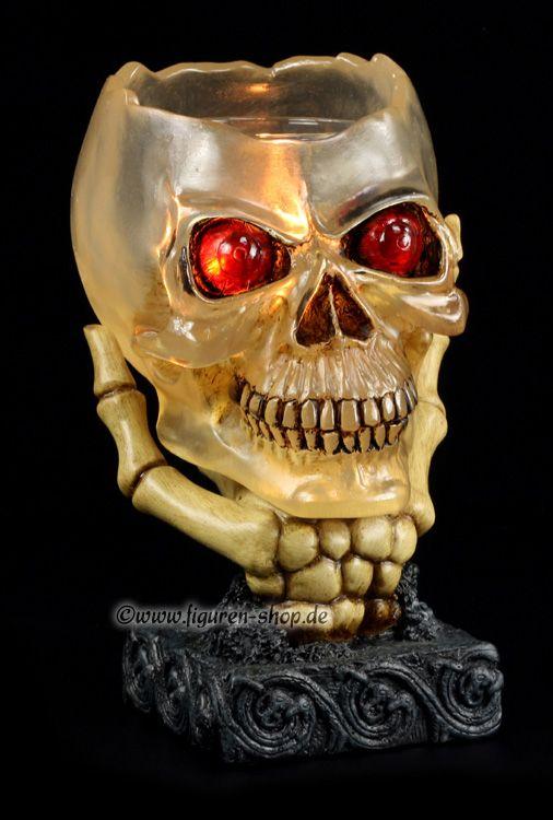 Totenkopf Teelichthalter mit Skeletthand
