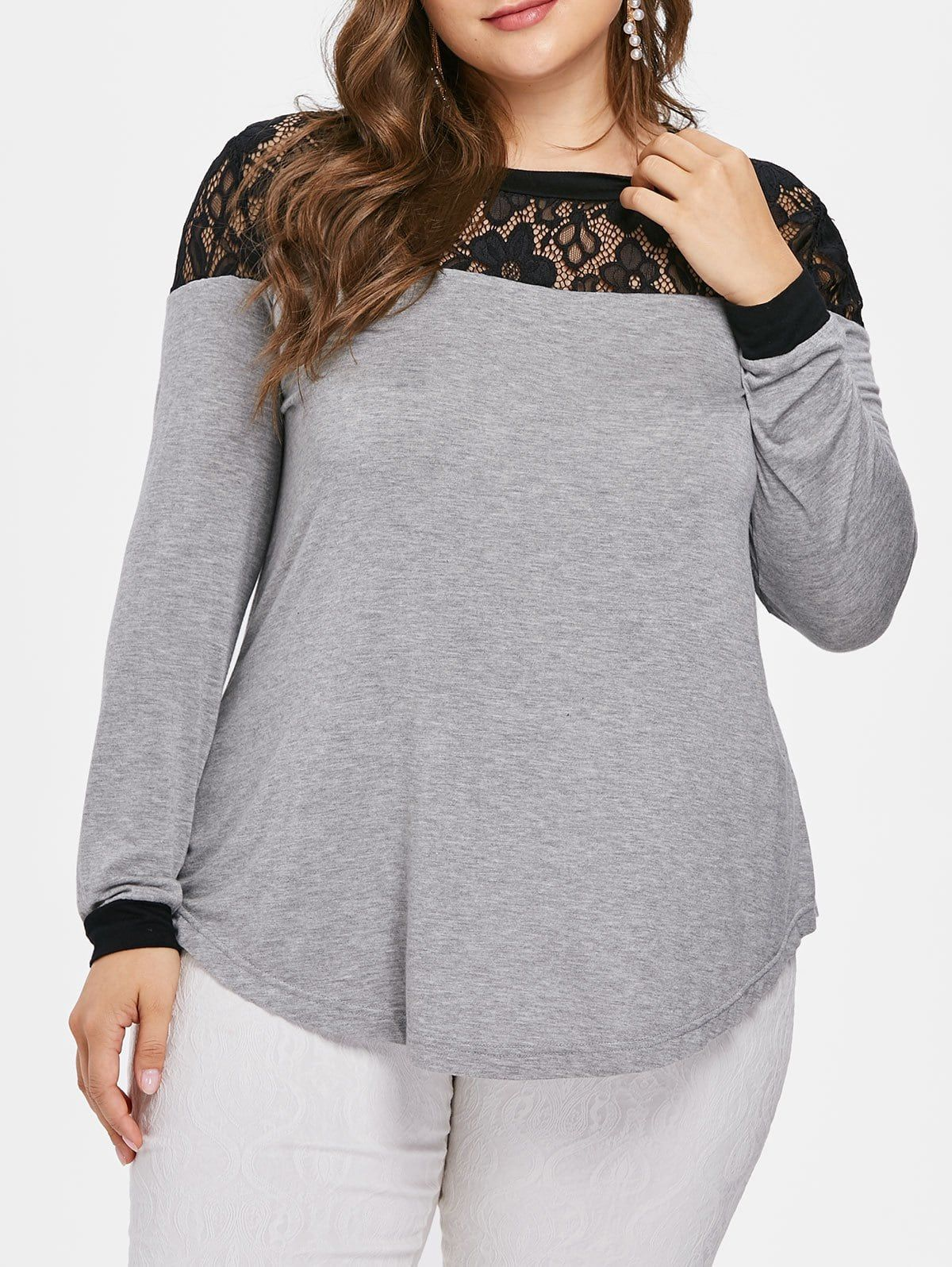 c4b662257b8 Plus Size Sheer Lace Trim Tunic T-shirt