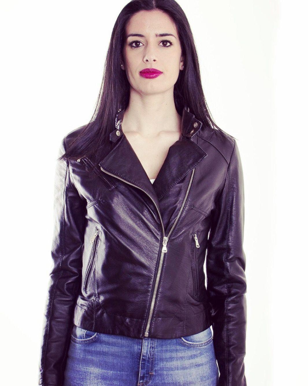 Emily slimfit women's black lambskin leather jacket. AUD