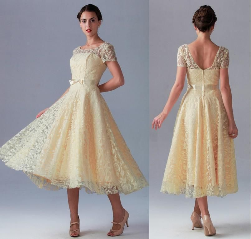 Tea Length Zipper Back A Line Short Sleeve Beach Lace Vintage Bridesmaid Dress