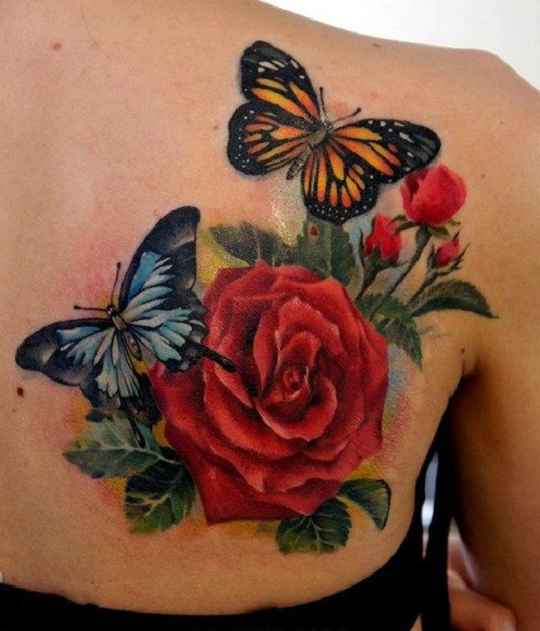 Roses with two butterflies back tattoo