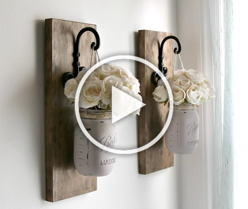 Farmhouse Wall Decor  Rustic Wall Sconces  Pair of Sconces image 0