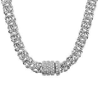 Spark joy around your neck with this Byzantine chain necklace. The clasp is decorated with cubic zirconia Diamonique simulated diamonds for a bit of extra pizzazz. From Arte d'Argento® Sterling Silver Jewelry.