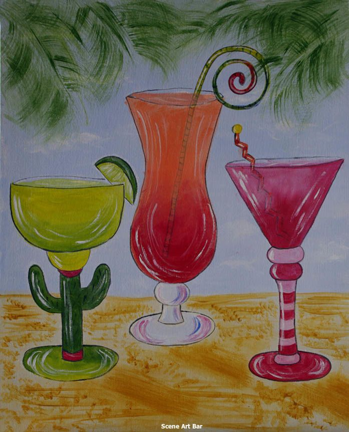Cocktails on the beach beginners acrylic painting by scene for Paint and cocktails