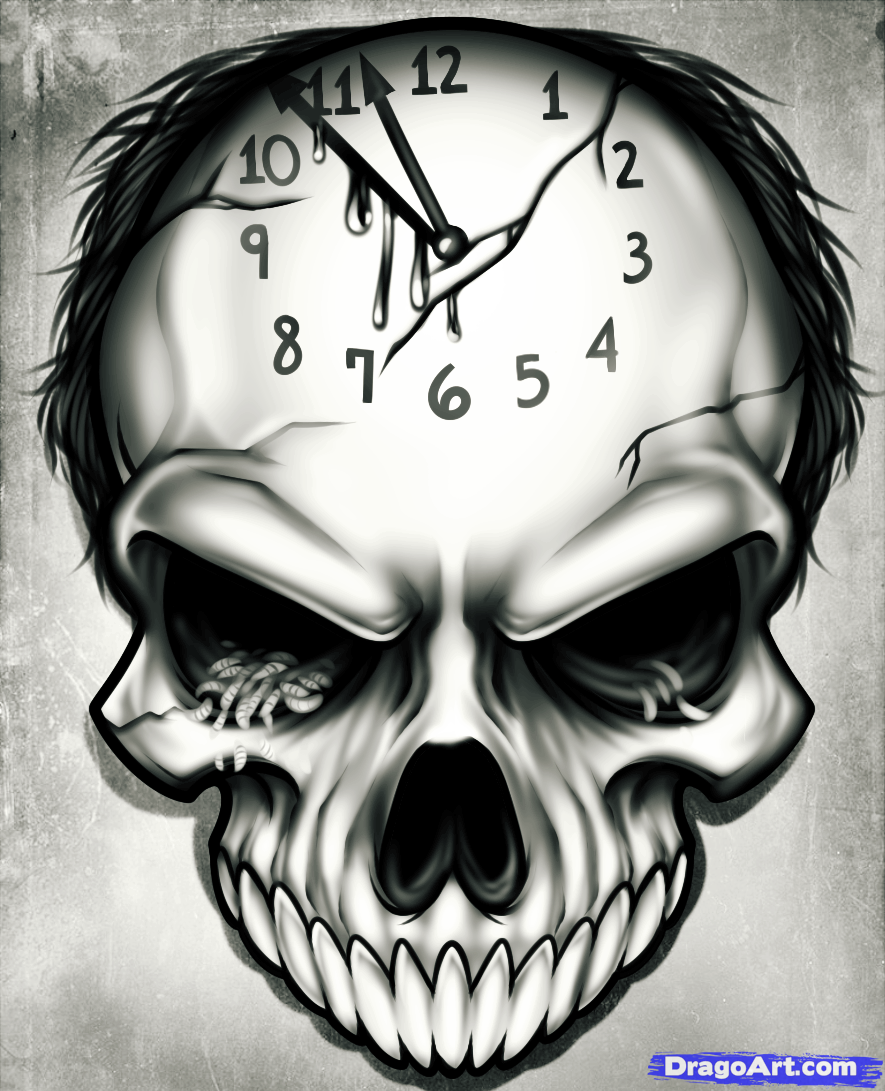 How to Draw a Time Tattoo Step by Step Skulls Pop Culture