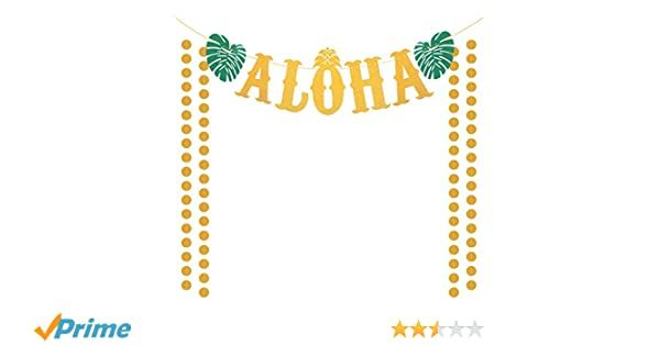 ZERHOK ALOHA Banner, Hawaii Garland Luau Tiki Decor with Tropical Palm Leaves & Gold Glitter for Summer Beach Pool Hawaiian Aloha Party Decoration