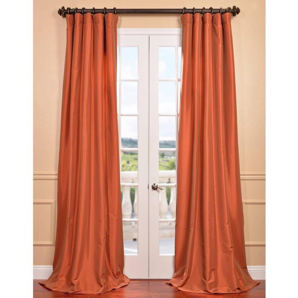 Exclusive Fabrics Harvest Orange Faux Silk Taffeta Curtain