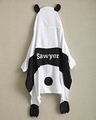 kids personalized panda hooded towel