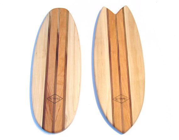 Surfboard Cutting Board Natural Cherry and Poplar with Food Safe