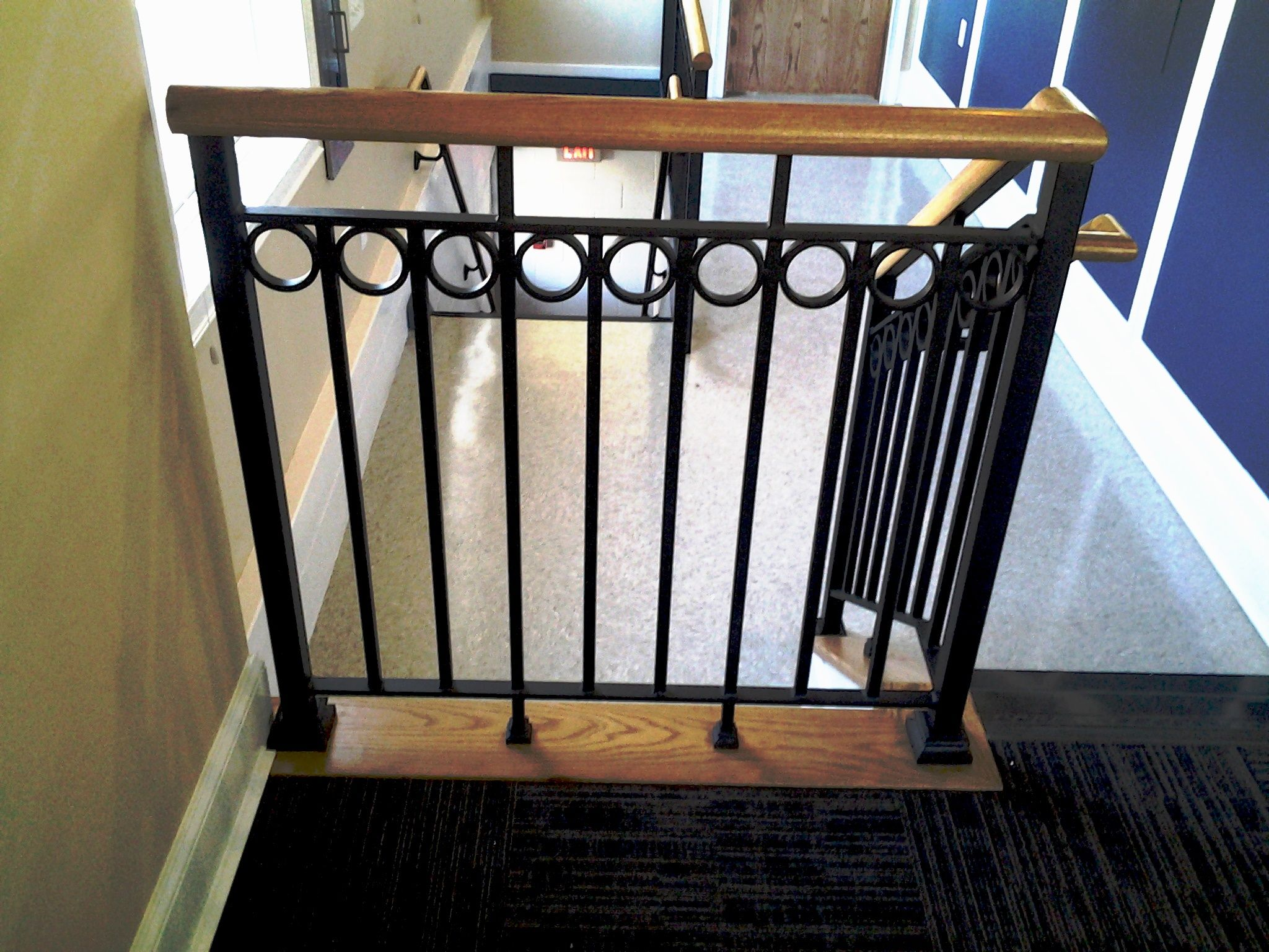 Wrought Iron Railing With Decorative Wood Cap Rail Wrought Iron