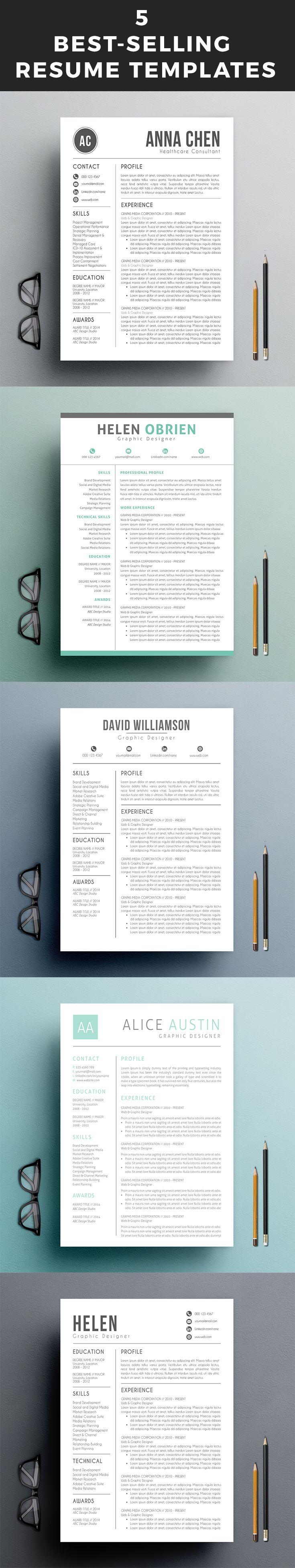 5 Best-Selling Resume Templates | Resume | Pinterest | Currículum
