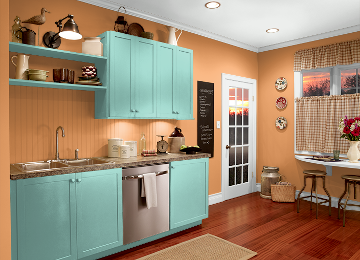 This is the project I created on Behr.com. I used these colors: CLARIFIED ORANGE(T15-10),FISH POND(P440-3),