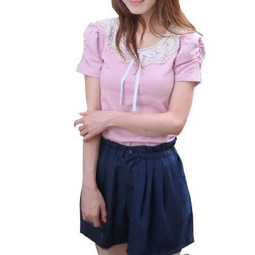 Allegra K Ladies Scoop Neck Gathered Short Sleeves Self Tied Ribbon Front Dot Prints Pink Shirt XS Allegra K. $10.09