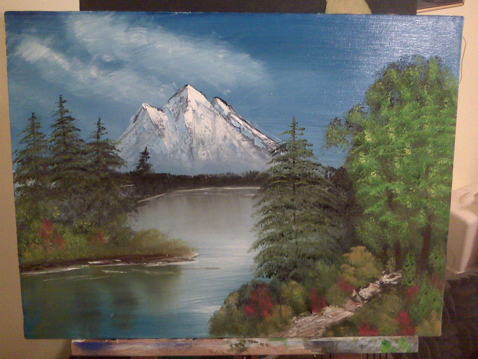 Mountain and lake #3 from Bob Ross Video training. | My Paintings ...