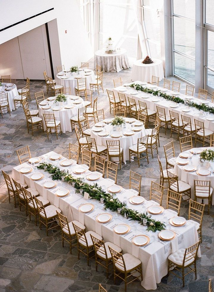 long table setup wedding reception%0A Mixed round and rectangle gold and white wedding reception table layout