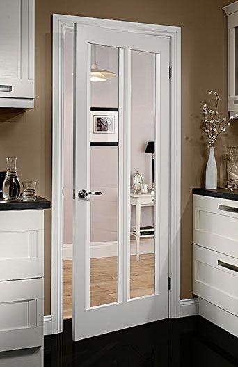 Barbados white clear glazed internal door white interior - Interior glass panel doors designs ...
