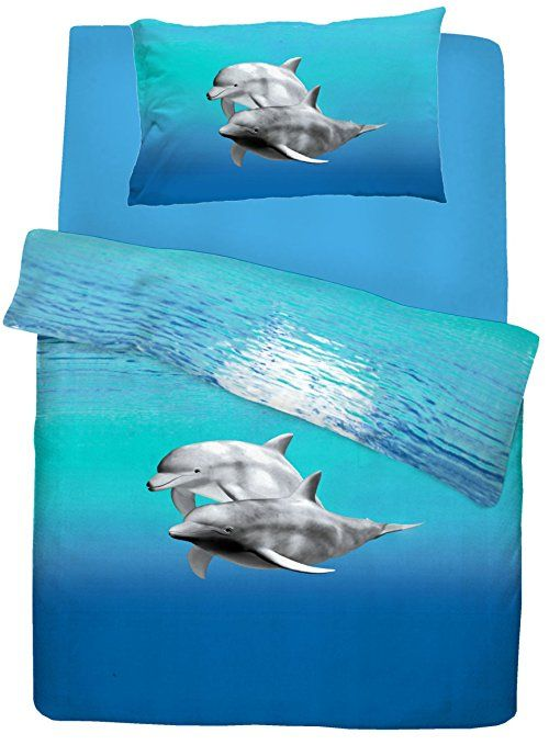 Single Bed Dolphin Duvet Quilt Cover Quality Bedding Set Blue Sea Animal Printed Quilted Duvet Blue Bedding Sets Quilted Duvet Cover