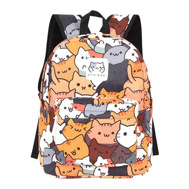 53c26232eed8 Cute Anime Cat Pattern Backpack (16