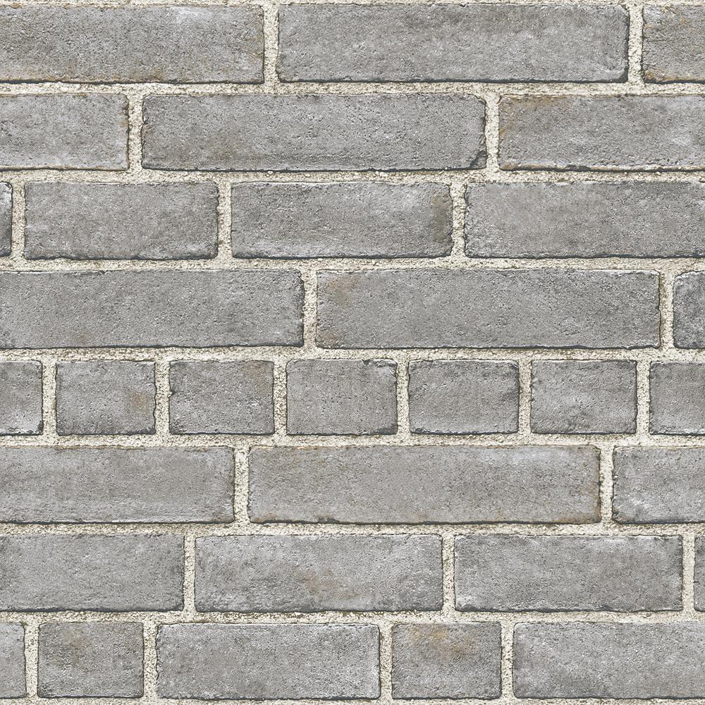 Nuwallpaper Grey Brick Facade Vinyl Strippable Roll Covers 30 75 Sq Ft Nu2236 The Home Depot Brick Wallpaper Brick Wallpaper Grey Grey Brick