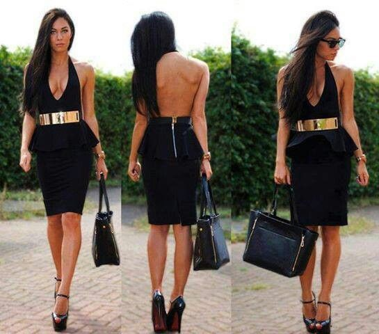 Black dress and gold belt