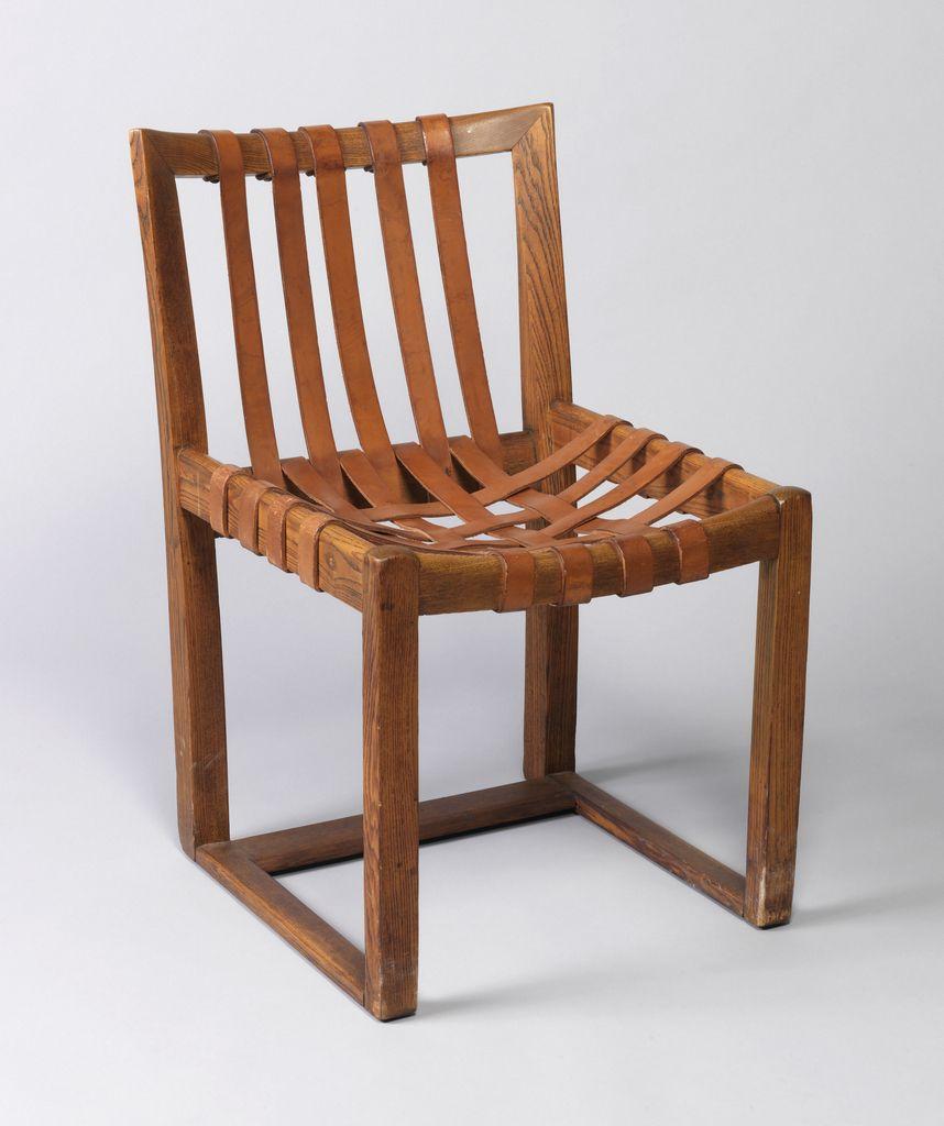 hermann zweigenthal herrey; wood and leather chair, c1930
