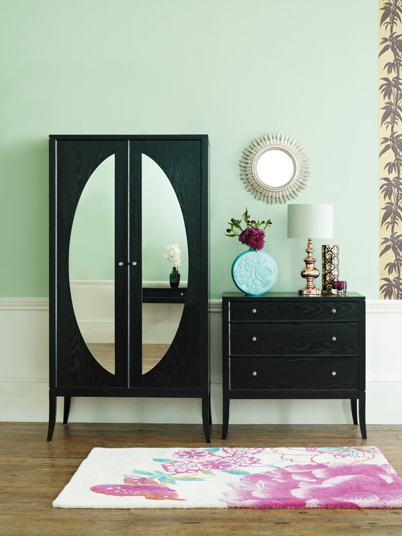 mint and black and mirrors! this is it. Sharp clean edge furniture