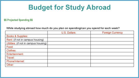 Study Abroad Budget Form Traveling Pinterest Budget forms - travel budget template