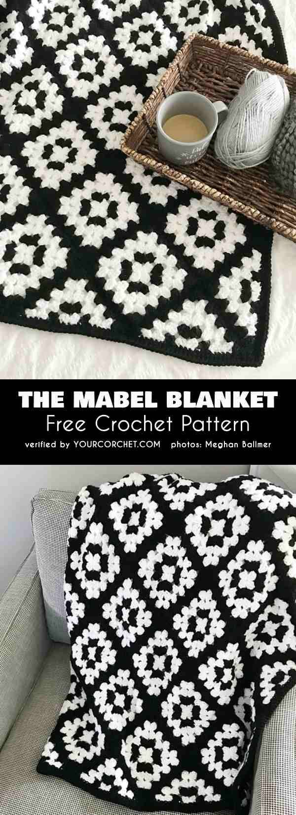 The Mabel Blanket Easy Granny Square Tutorial Free Crochet Pattern Granny Square... - #Blanket #CROCHET #easy #free #granny #Mabel #pattern #Square #tutorial #afghans