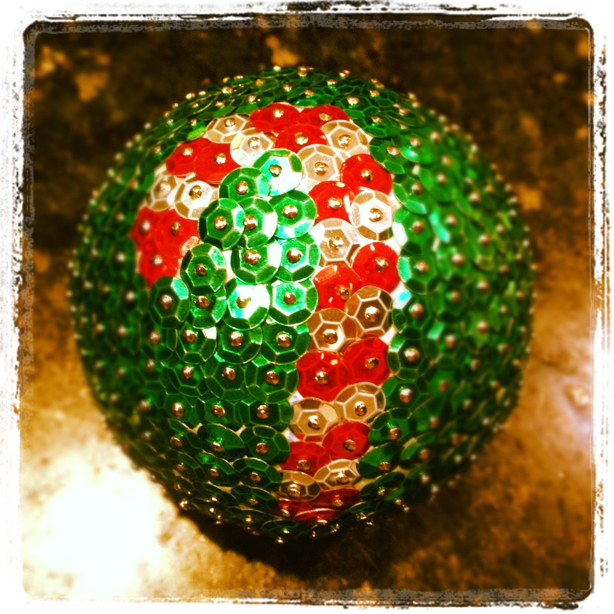 My first sequin bauble of the season christmas for Christmas ball craft ideas