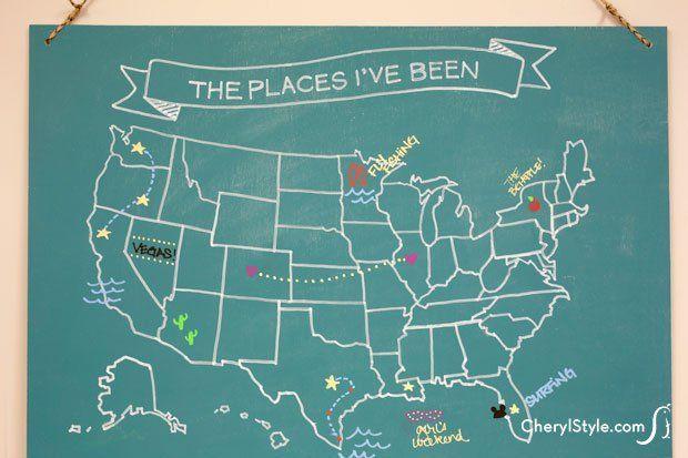 How To Make A DIY Map Chalkboard Recipe Pinterest Chalkboards - Make a trip map